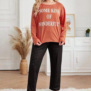 Orange/Black Slogan Printed Pajama Set in 1XL